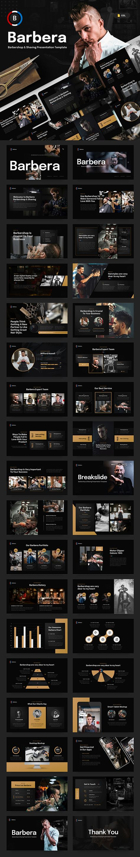 Barbera - Barbershop & Shaving Google Slides Presentation Template