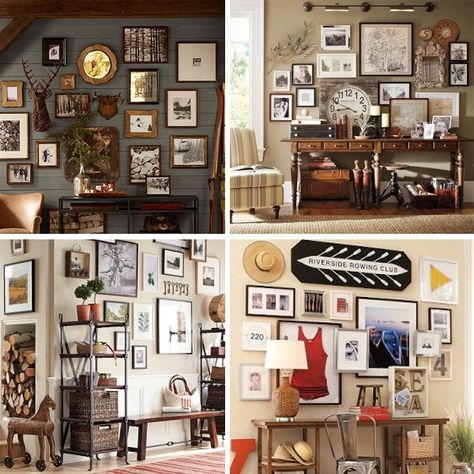 Pottery Barn Wall Grouping - love the lights in top right picture!