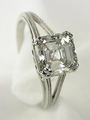 Asscher Cut Diamond Antique Engagement Ring,  I love this cut