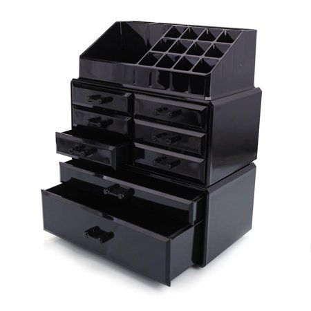 Ktaxon Cosmetics Makeup And Jewelry Storage Organizer Case Display Boxes Black Makeup Jewellery Storage Makeup Drawer Organization Acrylic Organizer Makeup