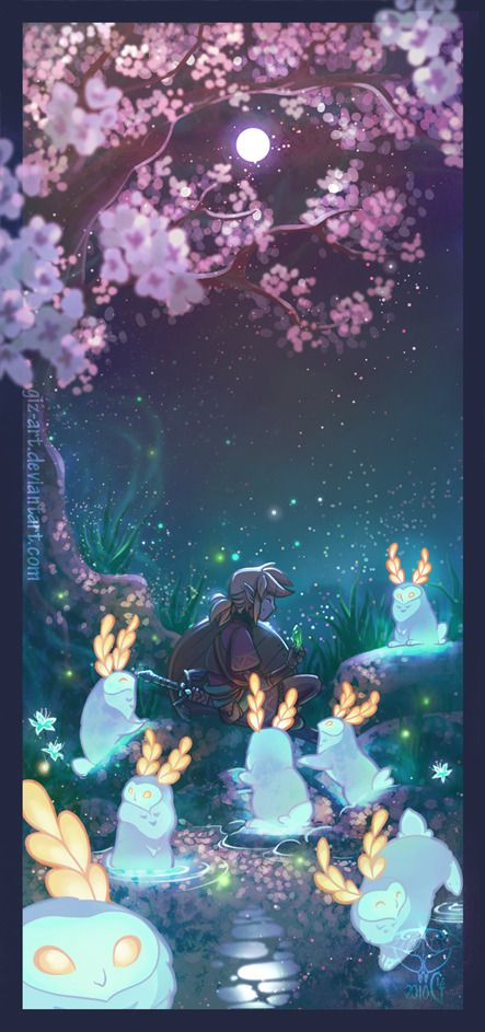 Under The Moon Art By Giz Art Tumblr Legend Of Zelda Breath Zelda Art Legend Of Zelda