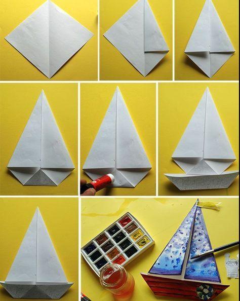 1001 Modeles D Origami Faciles Pour Apprendre Comment Faire Un Bateau En Papier Origami Facile Bateau Papier Origami Bateau