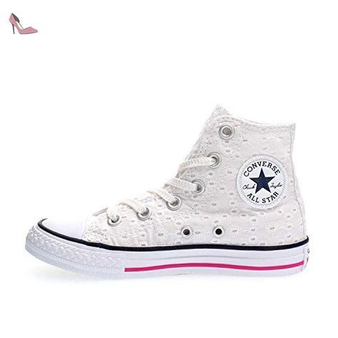 CONVERSE Sneaker à lacets blanche en tissu brodé avec