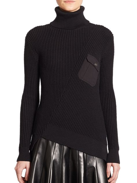 9258ad9ce76 Marc By Marc Jacobs Cotton   Silk Waffle Turtleneck Sweater in Black ...