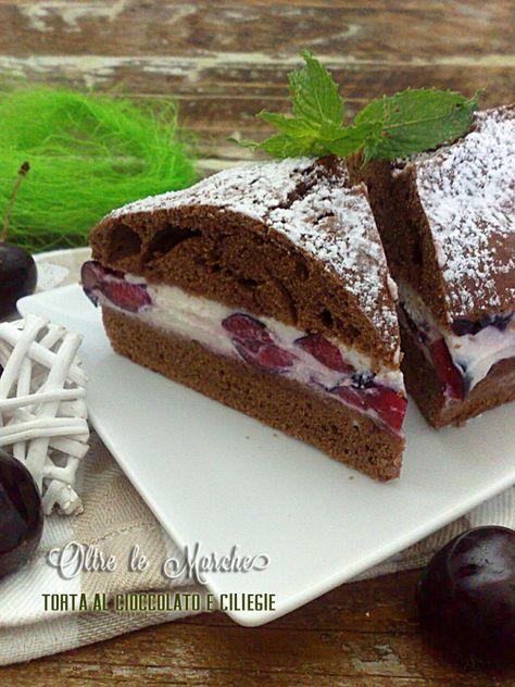 Torta al cioccolato con ciliegie,  cioccolato e ciliegie, cioccolato e frutta, come consumare la frutta matura, crema di ricotta, dessert estivi,