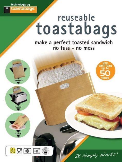 4 x Reusable Toaster Toastie Sandwich Toastabags Toast Bags Pockets Toasty