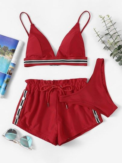 Striped Trim Bikini Set With Shorts 3pack Bikini Set Bikinis