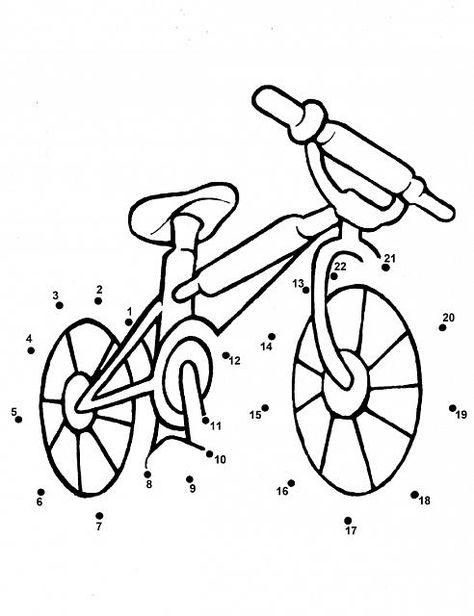 Bicicletta Disegno Da Colorare.Unisci I Puntini Per Bambini Piccoli La Bicicletta Disegni Da