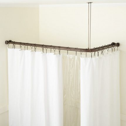 Corner Solid Brass Commercial Grade Double Shower Curtain Rod