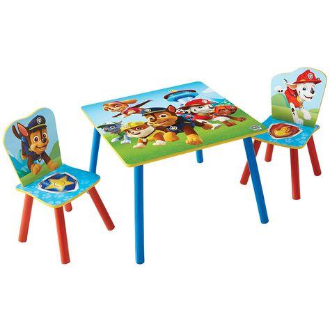 Paw Patrol Set Aus Tisch Und 2 Stuhlen Fur Kinder Holz Farbenfroher Funktionaler Tisch Mit Zwei Stuhlen Im De Kindersitzgruppe Stuhle Fur Kinder Kindertisch