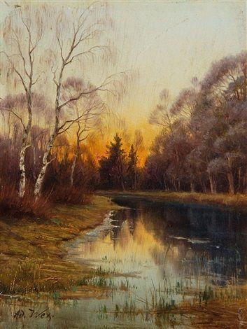 Herbstabend In Den Isarauen Bei Freising By Adalbert Wex Painting Sunrise Sunset Sunrise