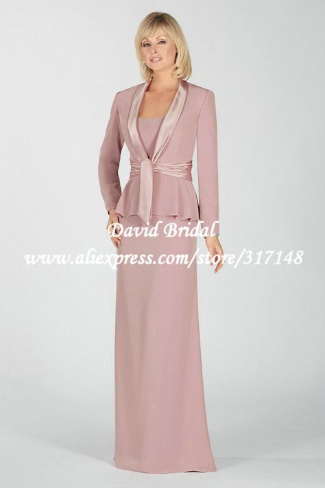 288e34b106 Floor Length ZF436 Sheath Formal Long Sleeves Jacket Pink Mother of ...