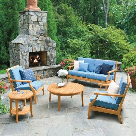 Seneca Lounge Chairs And Sofa With Capri Cushions With Oyster Piping And  Seneca Round Side And