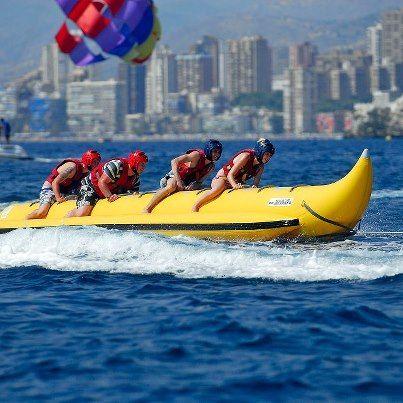 Great fun on the water at Carlos Water Sports Banana Boat Ride, Jet Ski hire,Flyfish ride or Parasailing