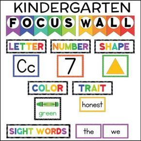 FOCUS WALL KINDERGARTEN sight words letters numbers shapes colors This kindergarten (or pre-k) focus wall set includes everything you need to set up an effective, eye-catching focus wall for your students. Kindergarten Focus Walls, Kindergarten Classroom Setup, Kindergarten Lesson Plans, Homeschool Kindergarten, Kindergarten Preparation, Kindergarten Calendar Board, Homeschooling, Kindergarten Bulletin Boards, Toddler Classroom