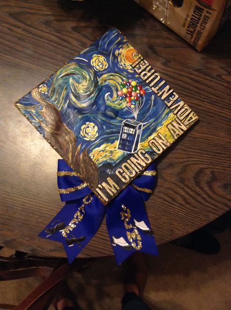 Graduation Cap - Doctor Who, Up, The Hobbit, and Van Gogh. All of my favorites! ...