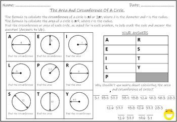 The Area And Circumference Of A Circle Tpt Math Spring Math