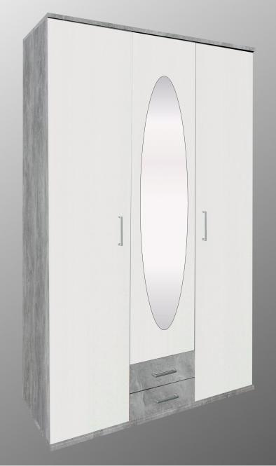 Kleiderschrank 3 Trg Power Von Menke Beton Weiss In 2020 Kleiderschrank Schrank Holzturen