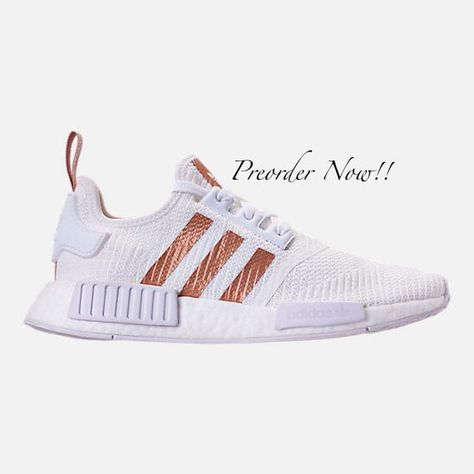 differently 9e559 adac3 Swarovski Womens Adidas Originals NMD R1 White   Gold Sneakers Blinged Out  With Authentic Clear Swarovski Crystals Custom Bling Adidas Shoes