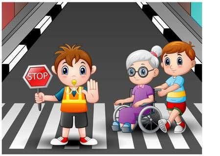 Bandera De Dibujos Animados Y Nino Ayuda A La Abuela En Silla De Ruedas Cruzar La Calle Educacion Vial Para Ninos Laberintos Para Ninos Dibujos Para Ninos
