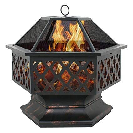 Amazon Com Zeny 24 Fire Pit Hex Shaped Home Garden Outdoor Backyard Patio Firebowl Wood Burning Firepla Fire Pit Heater Fire Pit Backyard Backyard Fireplace
