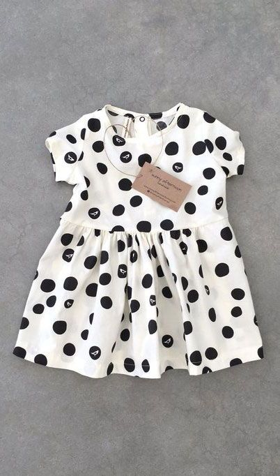 d1896ea91929a Beautiful baby girl summer dress! I love this black dots pattern and ...