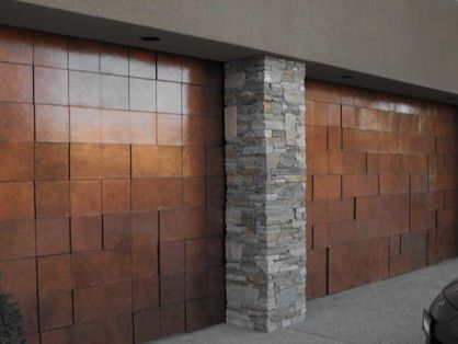 Faux Copper and Varnish Garage Doors