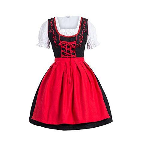 #Dirndl #3 #tlg.Trachtenkleid #Kleid, #Bluse, #Schürze, #Gr. #34 #schwarz #rot…