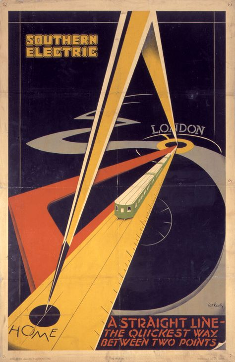 """ein-bleistift-und-radiergummi: """"Vintage Travel Poster Design by Patrick Cokayne Keely 'Southern Electric - A Straight Line-The Quickest Way Between Two Points' """""""