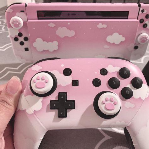 Gamer Setup, Gaming Room Setup, Nintendo Switch Case, Pink Games, Nintendo Console, Kawaii Bedroom, Otaku Room, Game Room Design, Cute Room Decor