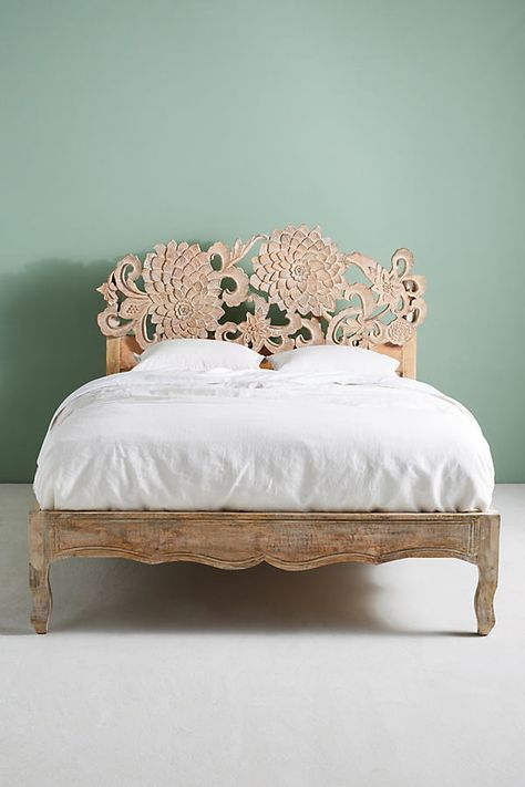 Handcarved Lotus Bed by Anthropologie in Beige Size: Full, Beds