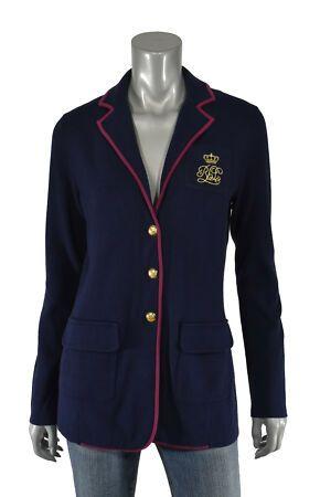 New Women S Polo Lauren Ralph Lauren Navy Cotton Rl Crest Monogram Blazer Jacket New Womens Suits From Top Stor Blazer Jacket Womens Professional Suits Blazer