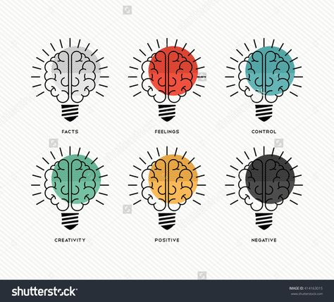 Six thinking hats concept design with human brains as light bulbs in colorful modern line art style. EPS10 vector.