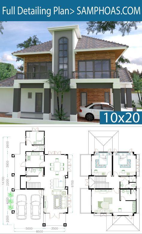 4 Bedrooms Home Plan 8 5x14 7m Samphoas Plansearch House Plans Architectural House Plans Bungalow House Plans