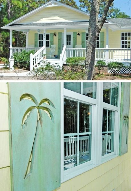 Southern Coastal Cottage Exterior Decorative Shutter Idea With Palm Tree Cutout In 2020 Beach Cottage Style Cottage Exterior Beach Cottage Decor