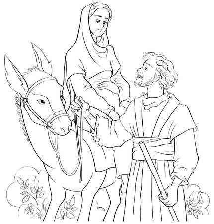 Mary And Joseph Travelling By Donkey To Bethlehem Nativity Story Coloring Pages The Nativity Story Bible Coloring Pages