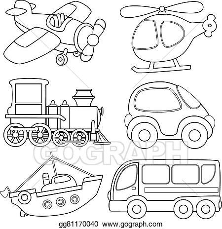 Vector Illustration Cartoon Transport Coloring Book Eps Coloring Of Transportation Clipart Clip Art Library T Coloring Books Coloring Pages Colouring Pages