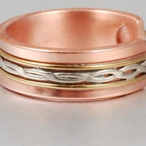 Magnetic Therapy Pure Copper Ring For Women Men Open Cuff