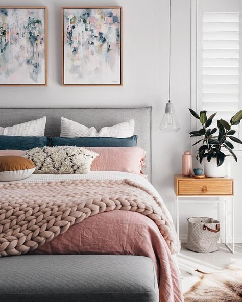 Navy And Pink Master Bedroom Soft Touches With Cozy Layers Home Bedroom Bedroom Design Bedroom Inspirations