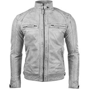 Mens Retro Style Zipped Biker Jacket Real Leather Washed Soft Dirty White Casual