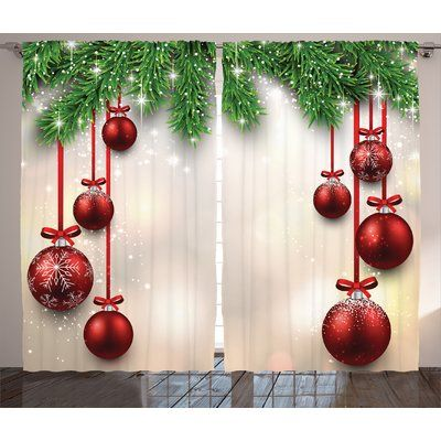 The Holiday Aisle Christmas Decorations Xmas Winter Season Theme Fir Twigs and Vibrant Balls Graphic Print Graphic Print & Text Semi-Sheer Rod Pock...