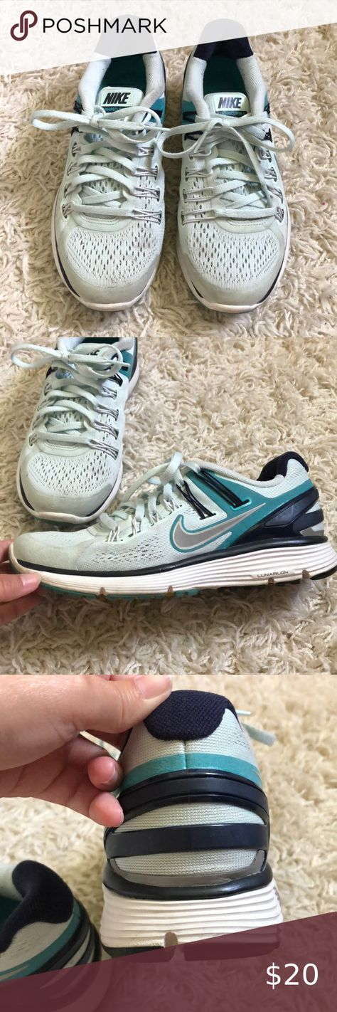 Nike LunarEclipse 3 shoes Size 6 Nike LunarEclipse 3 tennis shoe. Aqua color with turquoise and navy accents. Color is brighter than in pictures  Has Fitsole. Dynamic support.  Suede on the toe is dirty along with mesh on top toe area. Worn quite a lot but decent condition. Nike Shoes Sneakers