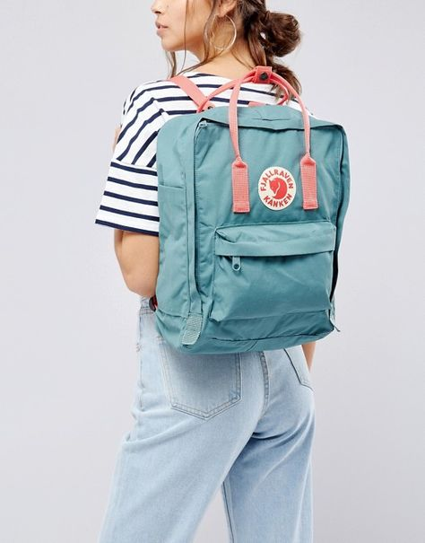 Shop Fjallraven Classic Kanken Backpack in Green with Contrast Pink at ASOS.