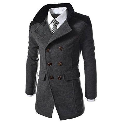 Big Daoroka Mens Slim Long Trench Coat Jacket Autumn Winter Warm Stand Collar Solid Button Coat Fashion Casual Long Sleeve Outwear Tops