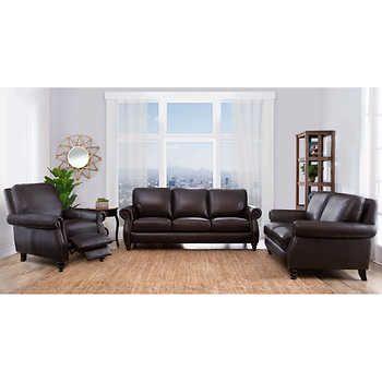Vittoria 3 Piece Top Grain Leather Set Living Room Leather Leather Living Room Set Top Grain Leather
