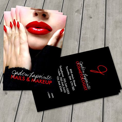 Cosmetologist Business Card Template created by colourfuldesigns. This design is available on several paper types and is totally customizable.