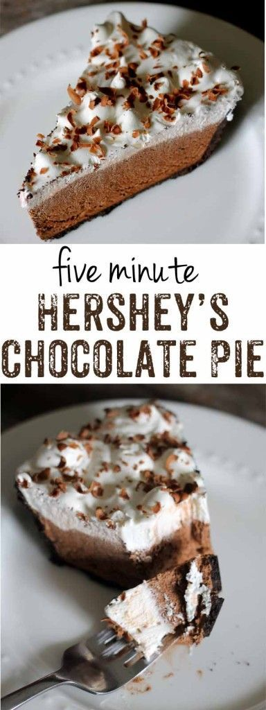 Hershey's Chocolate Pie in only five minutes? It's like a chocolate lover's…
