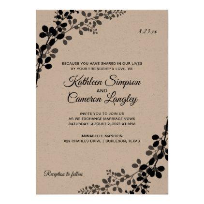 Exquisite Vines Wedding Invitation Black On Kraft Invitation Zazzle Com Black Wedding Invitations Vines Wedding Black Invitation