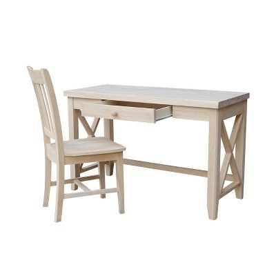 2pc Set Hampton Solid Desk And Chair Unfinished Wood International Concepts Solid Desks Solid Wood Desk Hardwood Desk