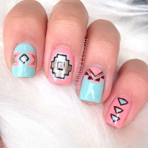 Tribal Nails with pastel colors. It's usually basic colors, mostly dark. But I really like what they did with these nails.